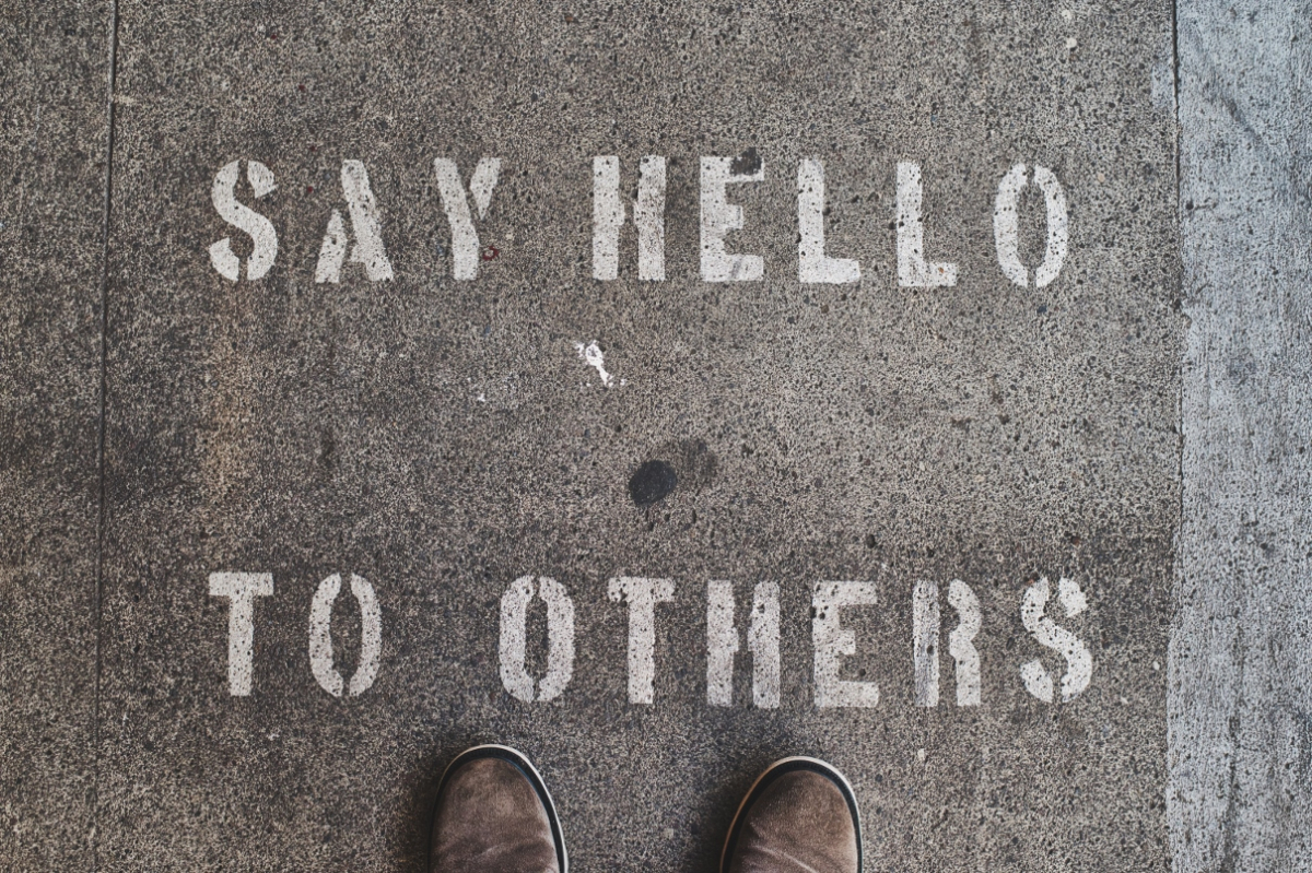 Say hello to others in chalk on street
