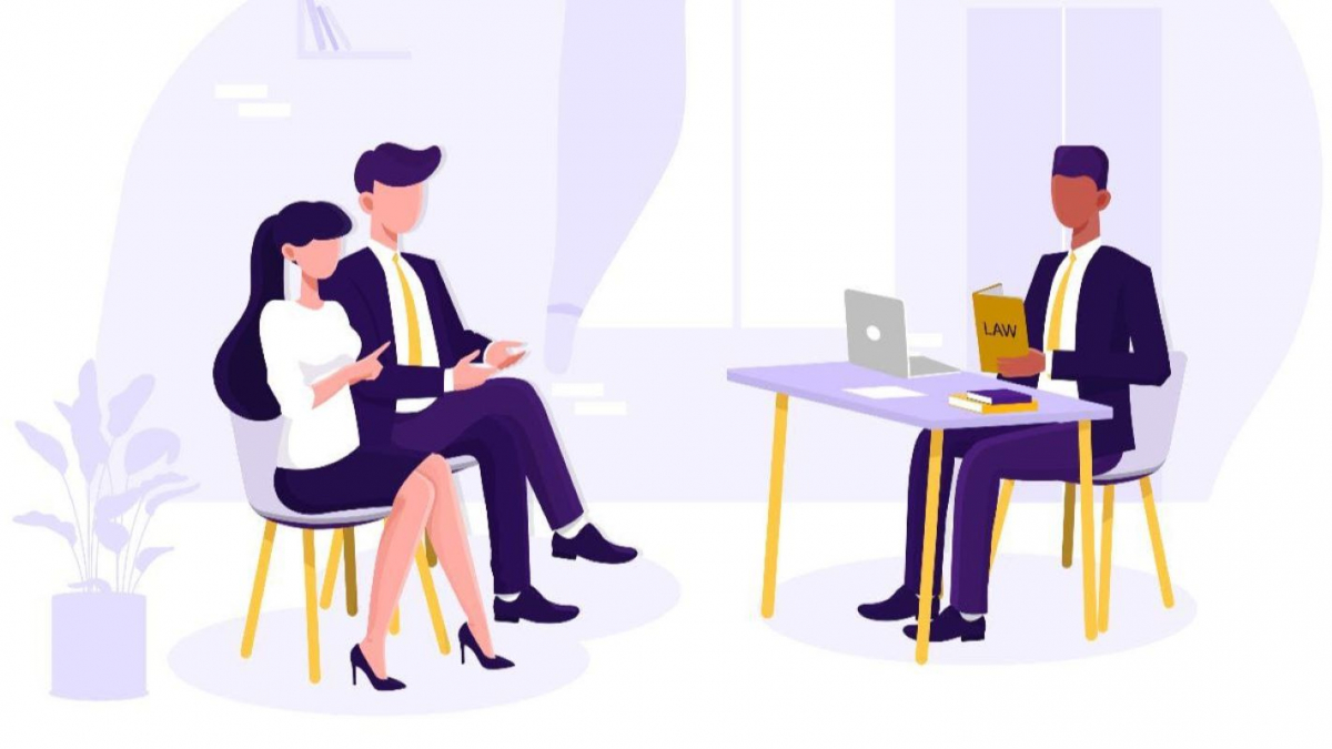 """A cartoon of two people in an office siting across from someone at a desk. The person at the desk has a yellow book with the word """"Law"""" on it."""